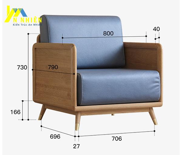 kích thước mẫu sofa gỗ nhỏ