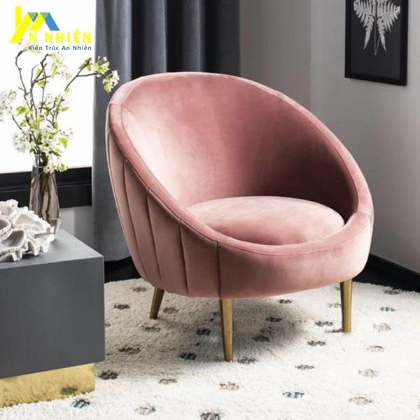 mẫu sofa đơn hình tròn màu hồng