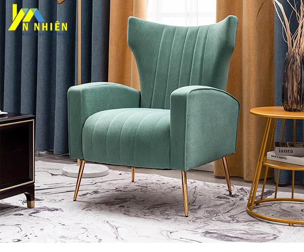 mẫu sofa đơn màu xanh bằng vải