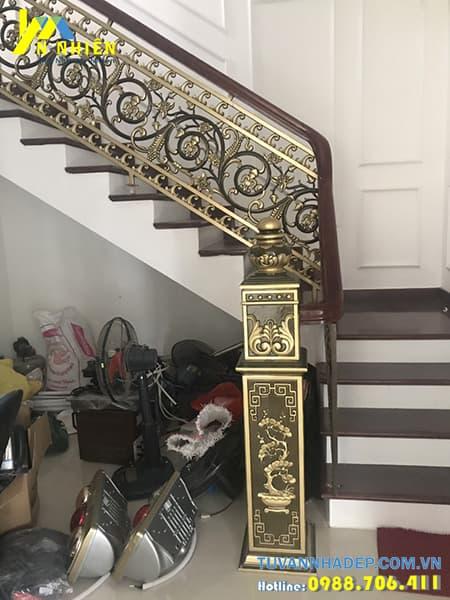 hình ảnh nhà sau khi lắp cầu thang nhôm đúc