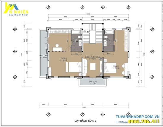 Nội thất tầng 2 bố trí 2 phòng ngủ rộng đầy đủ tiện nghi