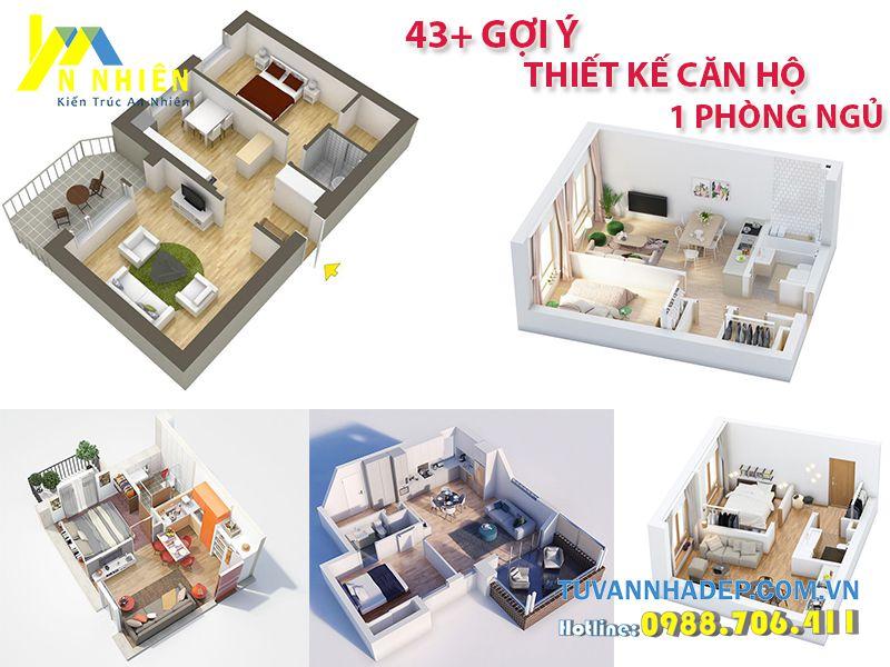 mặt bằng căn hộ 1 phòng ngủ, thiết kế căn hộ 1 phòng ngủ
