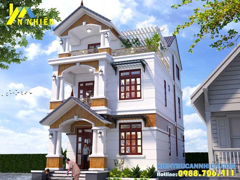 Thiết kế nhà phố 2 tầng 1 tum 7x12m