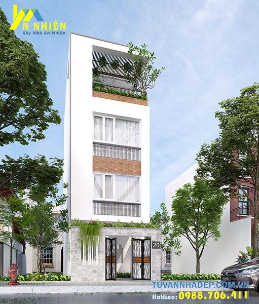 thiết kế nhà phố 4 tầng mặt tiền 4m