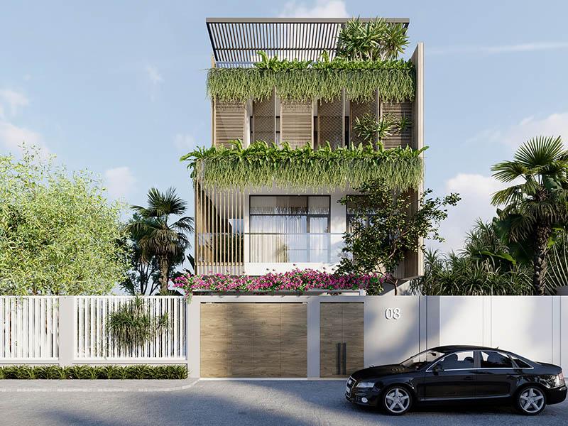 thiết kế nhà phố xanh