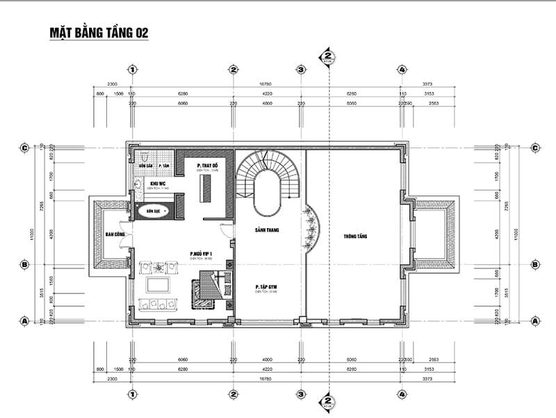 Mặt bằng biệt thự xây tại Hà Nội